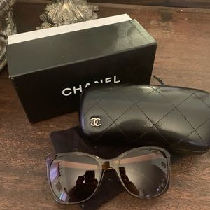 Chanel Brown and Gold Polarized Sunglasses